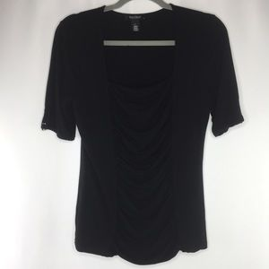 WHBM black top with gold detailed sleeves